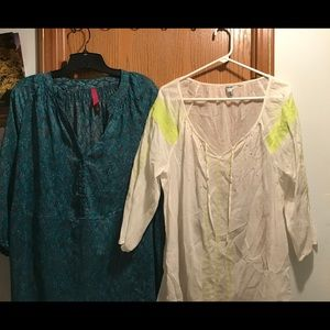 2 Plus size Peasant Blouses 3/4 length sleeves